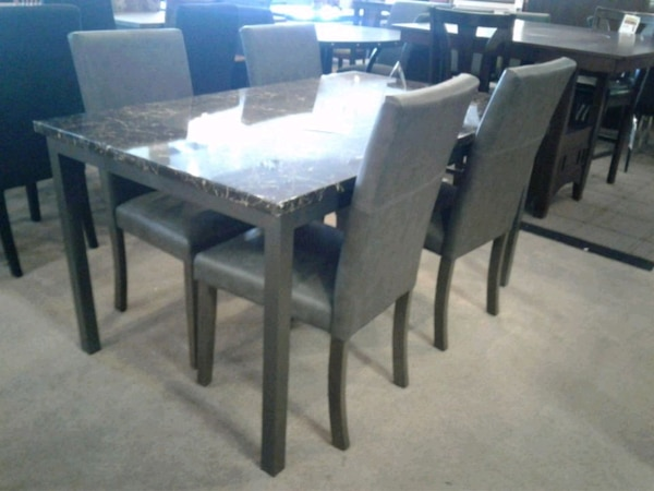 Enjoyable Faux Marble Dining Table With 4 Chairs Home Interior And Landscaping Ologienasavecom