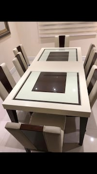 white and black wooden dining table set Montréal, H4M 2J2