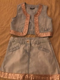 Kids blue denim skirt and top size 7-8 Stafford, 22556