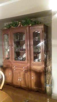 brown wooden framed glass display cabinet TORONTO