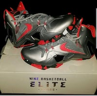 gray-and-red Nike basketball shoes size 8.5 Lanham, 20706