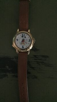 round silver Mickey Mouse themed analog watch with brown leather strap Akron, 44319