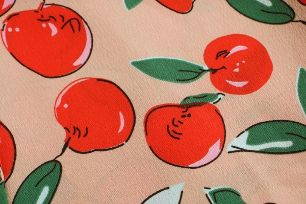 MACKZIE APPLE PRINT LONG DRESS IN RED  7
