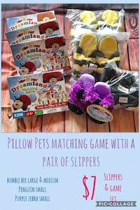 Pillow pets game and slipper set 2379 mi