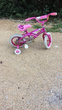 toddler's pink and white bicycle with training wheels Elgin, 60120