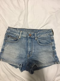 Blue denim short shorts