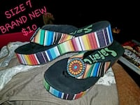 pair of multicolored striped thong sandals Godley, 76044
