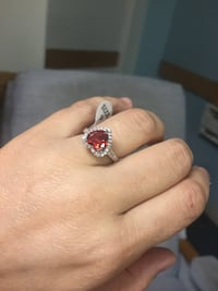 silver and red gemstone ring Malden, 02148