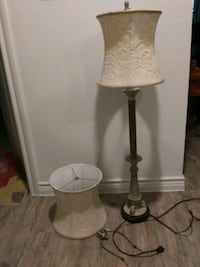 two gray-and-white table lamps Denison