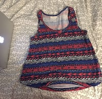 red, blue, and white tribal print tank top