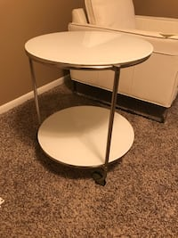 Ikea round glass rolling side table