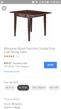 brown wooden Winsome Hamilton Double Drop leaf dining table screenshit Las Vegas, 89115