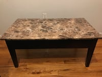 Lift-up Coffee Table w/ Inner Compartment Space & Marble Design Top - Brown New York, 11206