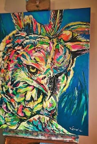 blue and multicolored bird painting canvas Toronto, M6J