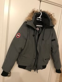 Gray and black canada goose parka jacket