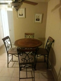 round brown wooden table with four chairs dining set Holiday, 34691