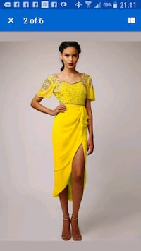 yellow floral deep v-neck half sleeve dress Calgary, T1Y 3P6