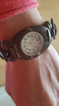Handmade coconut shell watch from France