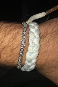 Diamond bracelet with sterling silver has been diamond tested. Boston, 02135