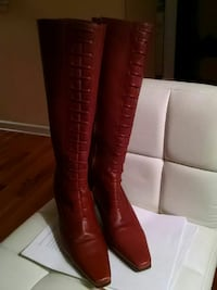 Genuine brown leather square knee-high boots Brooklyn, 11217