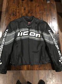 Icon Motorsport Jacket thick leather one of a kind. Nanaimo, V9X 0A1