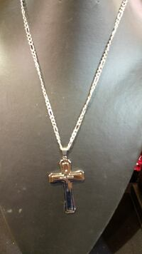 silver-colored figaro link cross pendant necklace Mercier, J6R 2K8