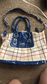 blue and white leather tote bag 366 mi