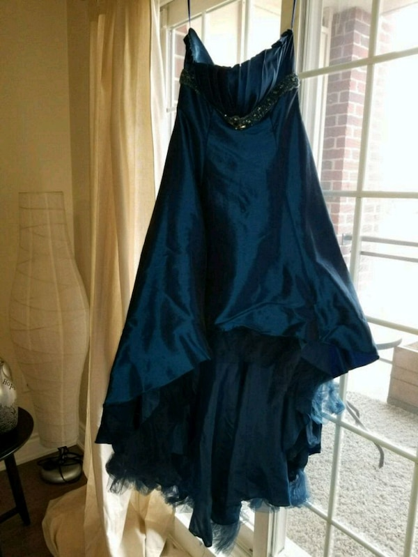 Royal blue strapless high low dress with jewls