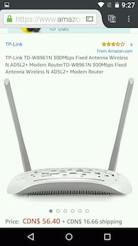 Antenna Wireless N ADSL2+ Modem Router  Richmond Hill, L4B 1R2