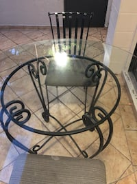 Dining Room Table & 2 Chairs Iron & Glass Set Excellent Condition