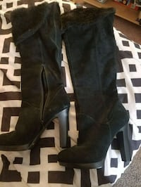 pair of black leather knee-high boots New Paltz, 12561