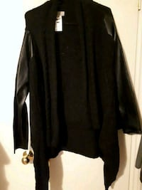 Black Wool Sweater with leather arms very stylish  Toronto, M9M 1N3