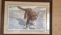 brown wooden framed painting of brown and white wolf Edmonton, T6K 0N4
