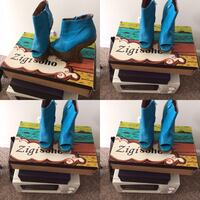 Pair of blue leather open-toe wedge booties collage McDonough, 30253