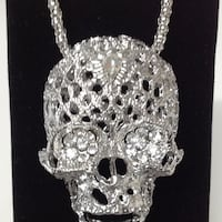 "28"" Chain Metal Skull with Moving Jaw Pendant (P14) PADUCAH"