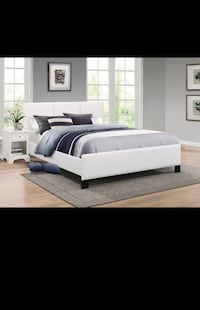 Beautiful Bonded Leather Bed Comes with spring mattresss included in then price we also offer free delivery in GTA