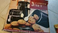 New 3 piece black canister set with spoons  Brampton, L7A 0G2