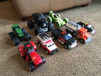"""Good condition 6-9"""" Tonka trucks and miscellaneous other vehicles 214 mi"""