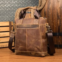 MANTIME HANDMADE LEATHER 13 INCH RETRO TOTE SHOULDER MESSENGER BAG IN