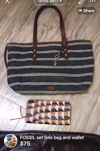 FOSSIL set tote bag and wallet-little wear on the bag wallet like NEW! London, N5W 6E3