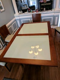 Wood and Glass Dining Room Table Set Sterling