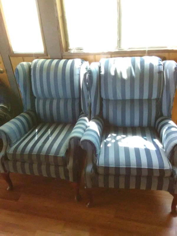 blue striped fabric sofa chairs