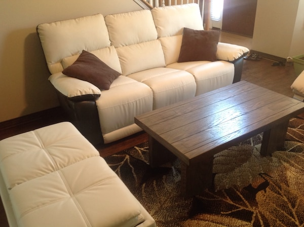 Used Three Piece Living Room Set Two Tone Reclining Couchottoman