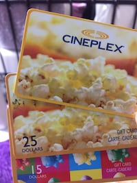Cineplex gift cards $65 combined  3120 km