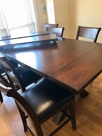 Counter Height Trestle Dining Set Seats 8, Solid Wood