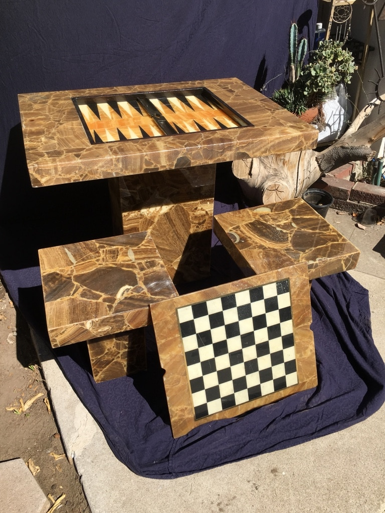 Authentic Vintage U201cFauxu201d Marble Game Table / (Backgammon, Chess, Checkers)