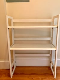 Collapsible White Wooden Short Bookshelf Boston, 02118
