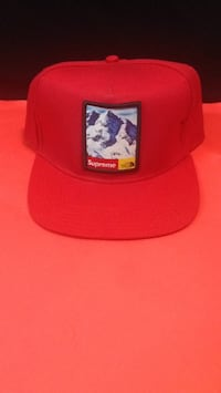 red and white fitted cap