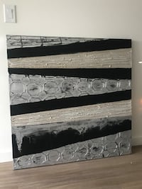 Black and Silver Textured Artwork on Canvas Kelowna, V1W