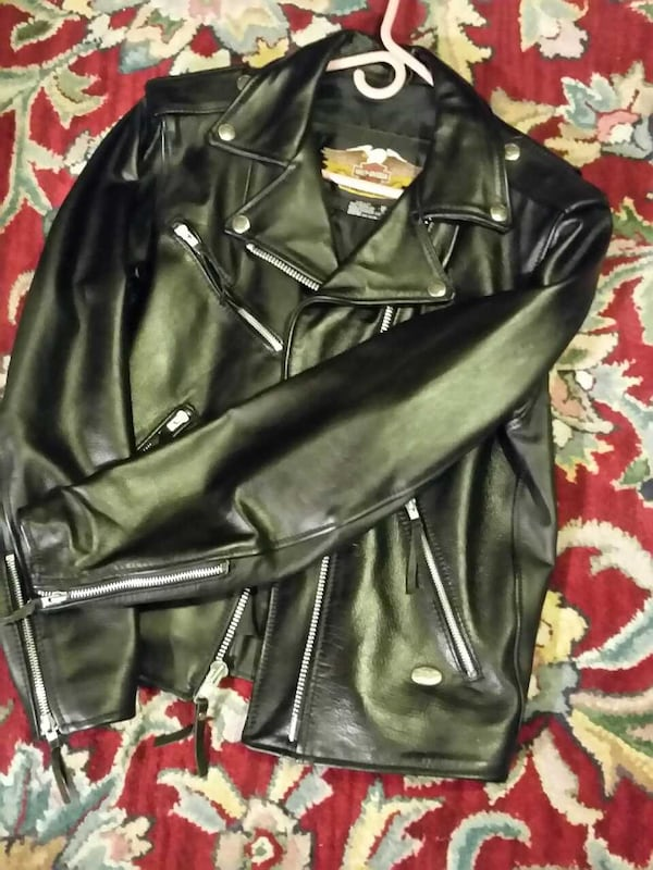 Harley Davidson motorcycle leather coat genuine  be8f8785-fea7-445f-bdbc-cf1add322950